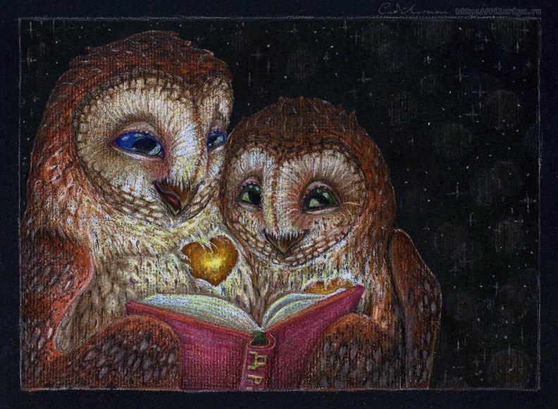 Книга Дружбы  Тёплым летним вечером две совы уютно устроились в дупле старого дерева и раскрыли волшебную книгу – Книгу Дружбы. О чём она? Никто не ответит точно. Кто-то находит в ней невероятные приключения, кто-то окунается в путешествия, кого-то обволакивает спокойное течение незатейливых дней, или затягивают искренние молчаливые прогулки у моря… Каждому книга открывает своё. Кому-то больше, кому-то меньше. Одни, казалось, лишь недавно начали её, но вот уже захлопнули, дочитав до последней точки. Перед другими книга предстаёт бесконечной вереницей страниц. Но какой бы ни была эта книга для тебя, ты  всегда сможешь отыскать в ней и тепло, и свет, и радость. И каждая из возможных историй книги определённо стоит того, чтобы её открыть.  Подарок. Чёрная бумага, чернильные карандаши, белый карандаш-маркер, щепотка воспоминаний.
