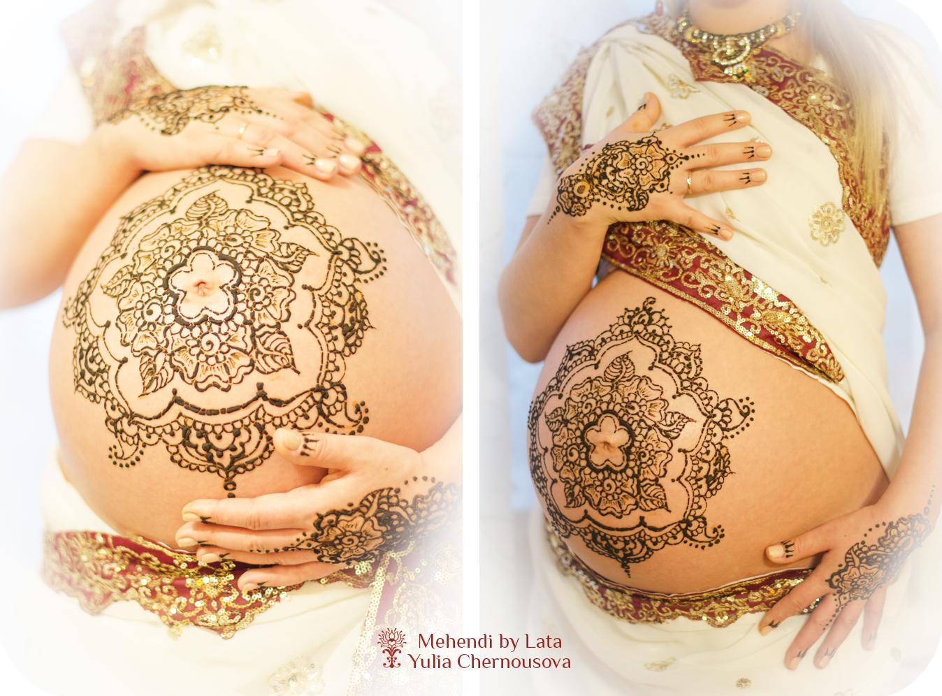 Рисунки хной на животе беременной 73