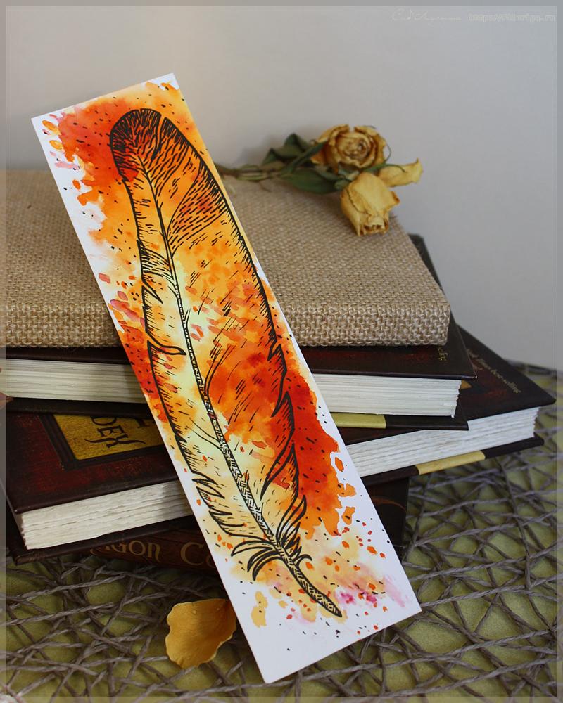 """Акварельная закладка, выполненная по уроку курса """"Акварельный мир Дж.Роулинг"""" (http://art-o-clock.ru/courses/rowling)"""
